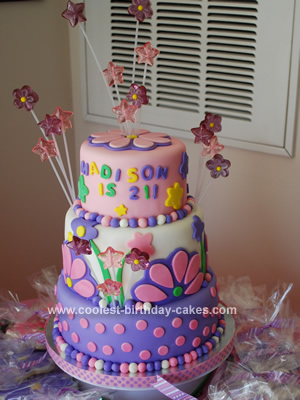Homemade Dots And Flowers Birthday Cake