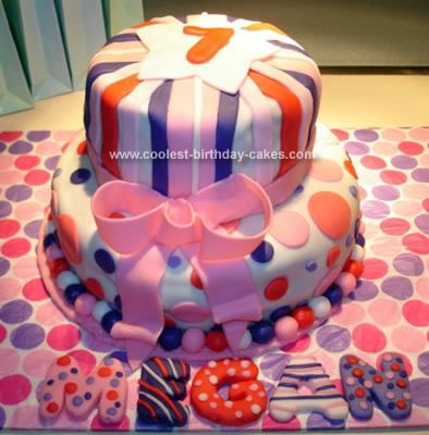 Homemade Dots And Stripes Birthday Cake