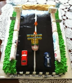 Homemade Drag Strip Birthday Cake