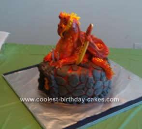 Terrific Cool Homemade Red Dragon Birthday Cake Personalised Birthday Cards Veneteletsinfo