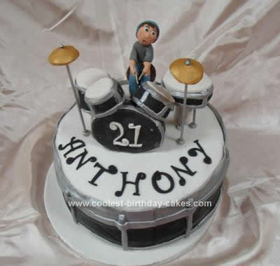 Cool Homemade Drum Set And Drummer Cake
