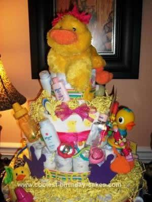 Homemade Duck Diaper Cake Idea