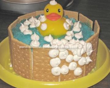 Homemade Duckie in Tub Birthday Cake