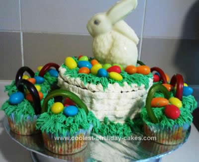 Homemade Easter Bunny in Basket & Cupcake Cake