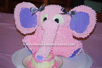 Remarkable Cute Homemade 3D Pink And Purple Elephant Birthday Cake Birthday Cards Printable Trancafe Filternl