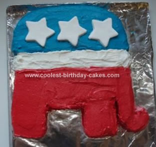 Homemade Republican Elephant Cake