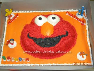 Homemade Elmo 3rd Birthday Cake
