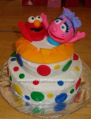 Homemade Elmo And Abby Birthday Cake