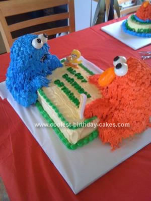 Homemade Elmo and Cookie Monster Birthday Cake