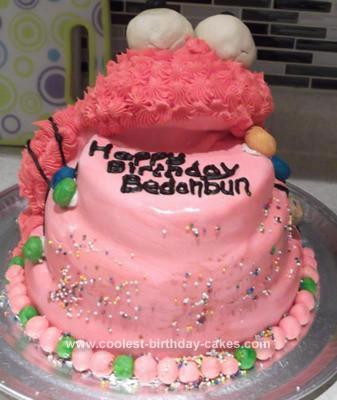 Homemade  Elmo Birthday Cake
