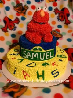 I Made This Elmo Birthday Cake For My Sons 1st Party With Our Family He Loves Sesame Street The Top Tier Is 2 6 Inch Yellow Cakes