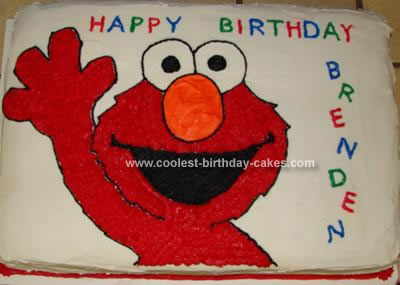 Cute Homemade 2d Waving Elmo Birthday Cake
