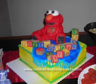 Fabulous Coolest Homemade Elmo Birthday Cake Idea With Blocks Personalised Birthday Cards Cominlily Jamesorg