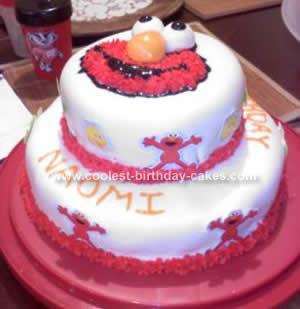 Cool Homemade 2 Tier Elmo Birthday Cake Idea