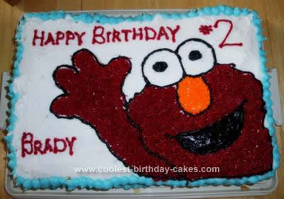 Homemade  Elmo Birthday Cake Idea