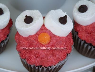 Homemade Elmo Birthday Cupcake