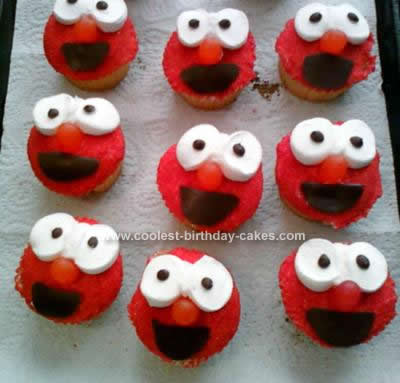 Homemade Elmo Birthday Cupcakes