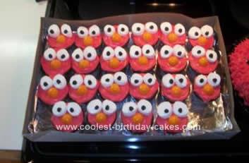 Homemade Elmo Birthday Cupcakes and Cake
