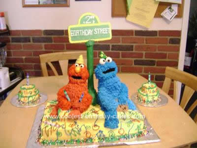 Homemade Elmo & Cookie Monster Cake