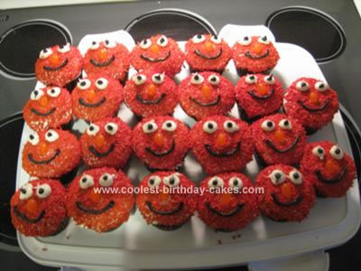 Homemade Elmo Cupcakes