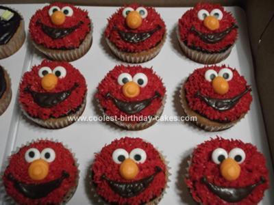 Homemade Elmo Cupcakes