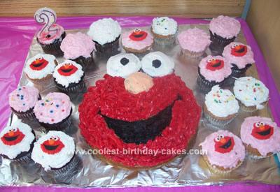 Homemade  Elmo Cupcakes and Cake