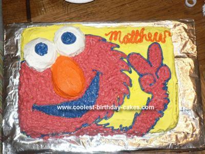 Homemade Elmo Second Birthday Cake