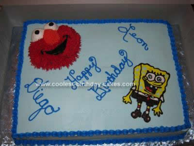 Homemade  Elmo Spongebob Cake