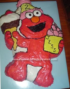 Homemade Elmo Turns 2 Birthday Cake