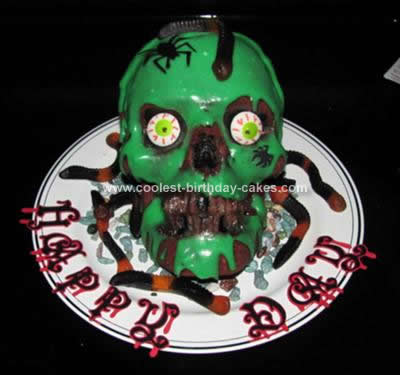 Homemade Evil Skull Birthday Cake
