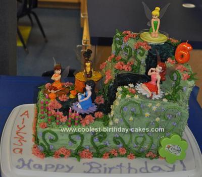 Homemade Fairy Tinkerbell Birthday Cake