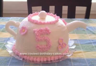Homemade  Fancy Tea Party Teapot Cake
