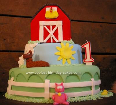 Homemade Farmy First Birthday Cake