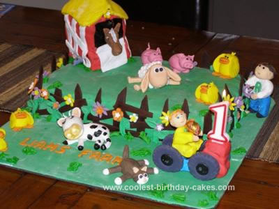 Homemade Farmyard and Barn Cake