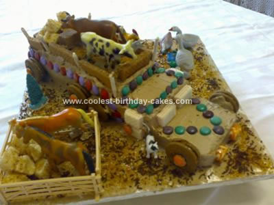 Homemade Farmyard Truck Birthday Cake
