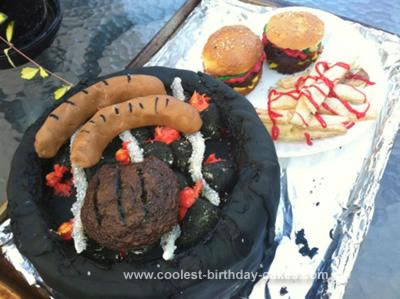 Homemade  Father's Day Grill Barbecue Cake