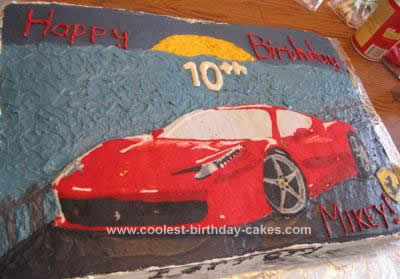 Homemade Ferrari Birthday Cake Design