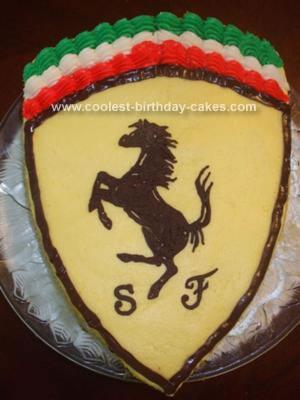 Homemade Ferrari Emblem Cake