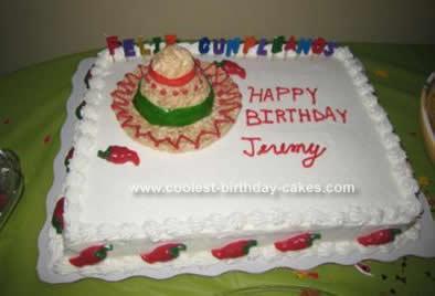 Homemade Fiesta Sombrero Birthday Cake