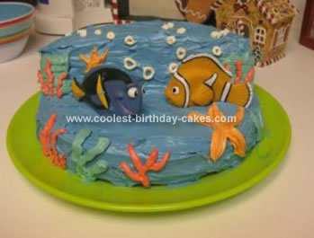 Astounding Cool Homemade Finding Nemo Birthday Cake With Nemo And Dory Personalised Birthday Cards Cominlily Jamesorg