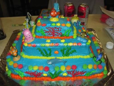 Wondrous Cool Homemade 3 Tiered Finding Nemo Birthday Cake Personalised Birthday Cards Cominlily Jamesorg