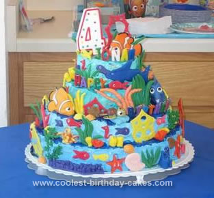 Pleasing Cool Homemade 4 Tiered Finding Nemo Birthday Cake Funny Birthday Cards Online Elaedamsfinfo