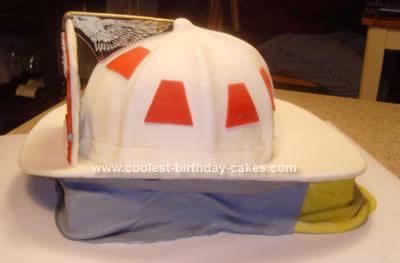 Homemade Fire Chief Helmet Cake