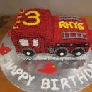 Homemade Fire Engine 3rd Birthday Cake