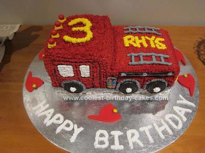 Coolest Fire Engine 3rd Birthday Cake