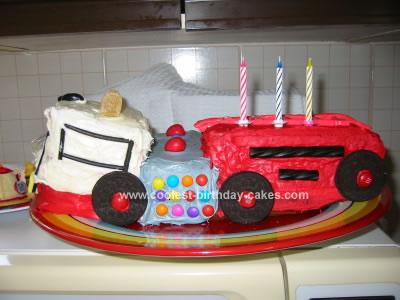 Remarkable Easy Homemade Fire Engine Cake Funny Birthday Cards Online Overcheapnameinfo