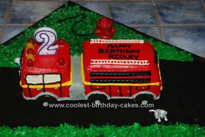 Homemade Fire Truck Birthday Cake