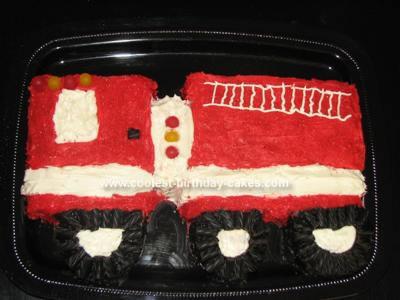 Homemade Fire Truck Cake