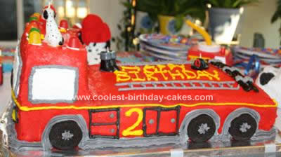 Homemade Fire Truck Cake Design
