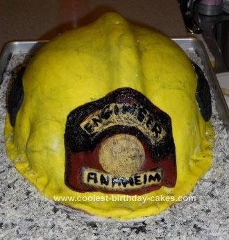 Homemade Firefighter Helmet Birthday Cake